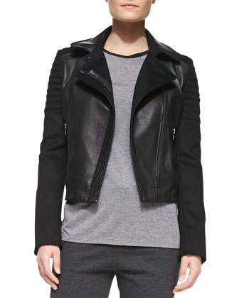 Quilted Knit/Leather Moto Jacket, Contrast-Trim Slub Muscle Tee & ...