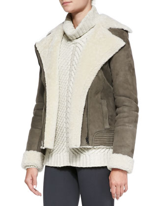 Shearling Fur-Lined Suede Zip Jacket, Chevron Turtleneck Sweater & ...