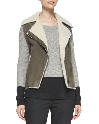 Asymmetric Shearling Vest, Colorblock Cable Sweater & Twill Relaxed Cropped ...
