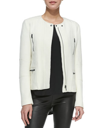 Boucle Moto Jacket, Cap-Sleeve Silk-Yoke Shirttail Tee & Cropped Leather ...