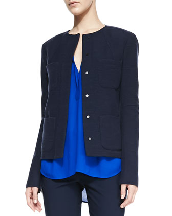 Trapunto-Placket Georgette Blouse, Snap-Front Four-Pocket Jacket & Side ...
