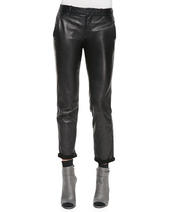 Leather Strapping Trousers, Black