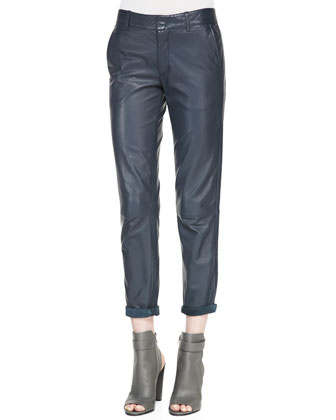 Strapping Cuffed Straight-Leg Leather Pants, Navy