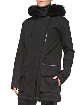 Asymmetric Zip Quilted Parka, Two-Tone Short-Sleeve Tee & Quilted-Detail ...