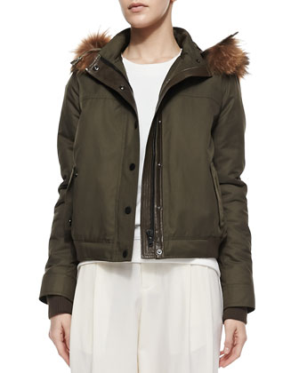 Fur-Trim Hooded Anorak