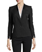 Fitted Leather-Trim Suit Jacket, Black