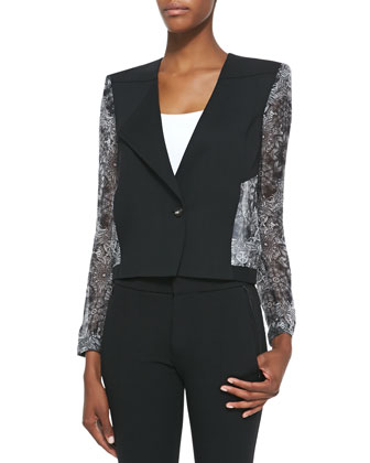 Boxy Chiffon-Sleeve Jacket, Black
