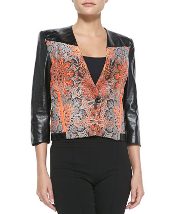Medallion Jacquard Boxy Jacket, Neon Red