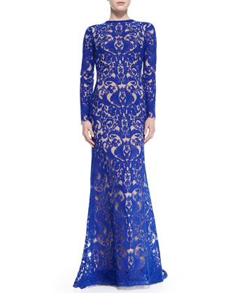 Long-Sleeve Lace Overlay Gown