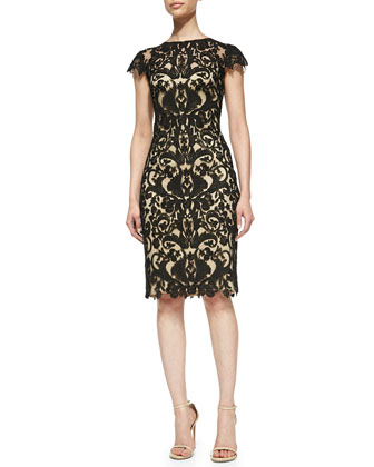 Short-Sleeve Lace Overlay Cocktail Dress