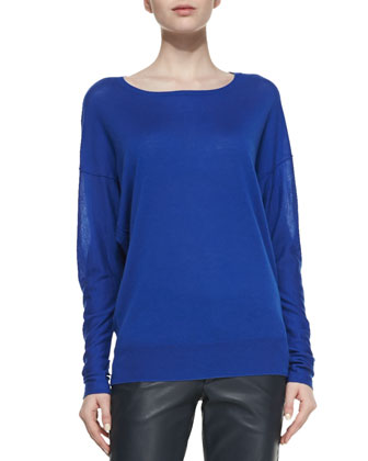 Drop-Sleeve Raised-Seam Top, Cobalt