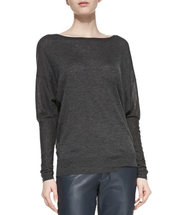 Dolman Boat-Neck Top & Strapping Cuffed Straight-Leg Leather Pants