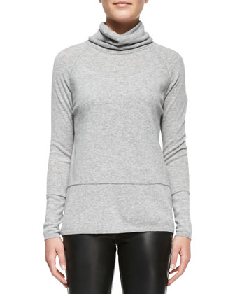 Leather-Sleeve Shawl-Collar Coat, Mixed-Weight Cashmere Turtleneck & ...