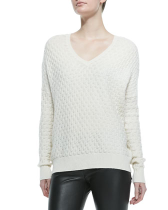Brick-Pattern V-Neck Sweater, Winter White