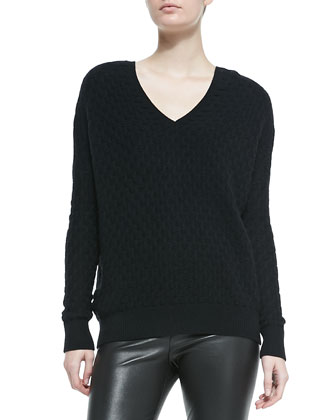 Brick-Pattern V-Neck Sweater & Smooth Leather Leggings