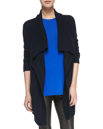 Open-Front Brick-Textured Cardigan, Silk Contrast Muscle Tee & Cropped ...