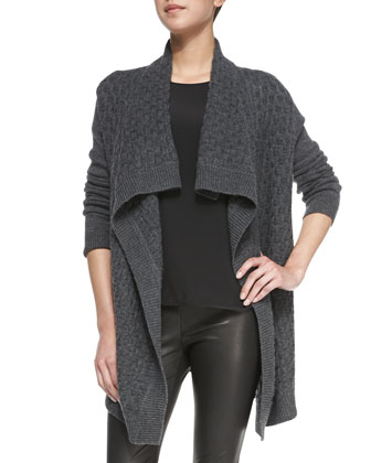 Open-Front Brick-Textured Cardigan, Cap-Sleeve Silk-Yoke Shirttail Tee & ...