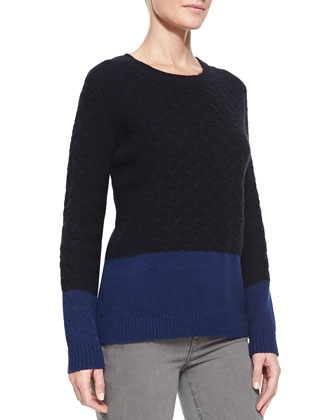 Cable-Knit Colorblock Sweater, Coastal/River