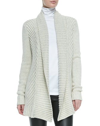 Ribbed Open-Front Knit Cardigan, Favorite Slim Lightweight Turtleneck & ...