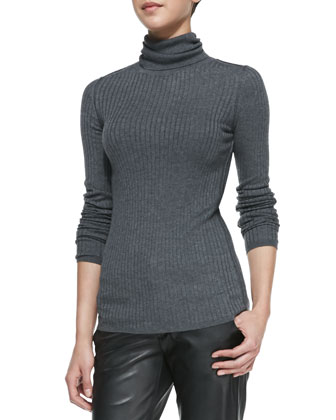 Slim Ribbed Knit Turtleneck & Leather Strapping Trousers