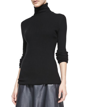 Slim Ribbed Knit Turtleneck, Black