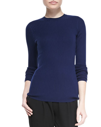 Reverse-Seam Crewneck Sweater