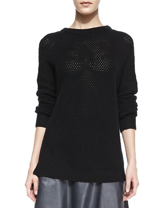 Mesh Stitch Long-Sleeve Crewneck Top