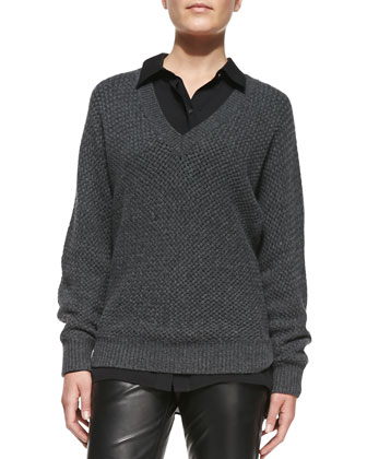 Textured Knit V-Neck Sweater, Long-Sleeve Button-Down Blouse & Leather ...