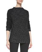 Seed-Stitch Long-Sleeve Wool Sweater