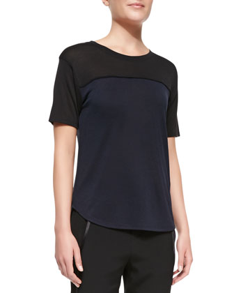 Satin-Piped Two-Tone Tee