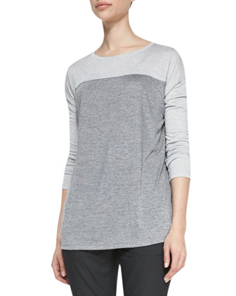 Long-Sleeve Tee with Silk Piping & Twill Relaxed Cropped Pants