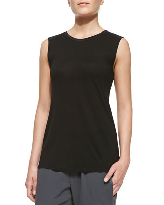 Silk-Contrast Muscle Tee, Black