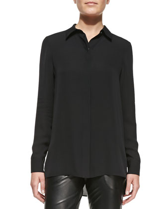 Long-Sleeve Button-Down Blouse, Black