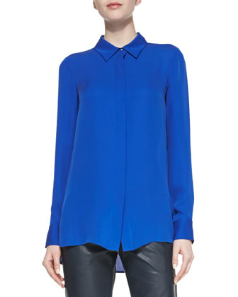 Dolman-Sleeve Mesh Sweater, Classic Long-Sleeve Silk Blouse & Cuffed ...