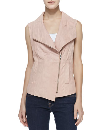 Leather & Knit Asymmetric Vest