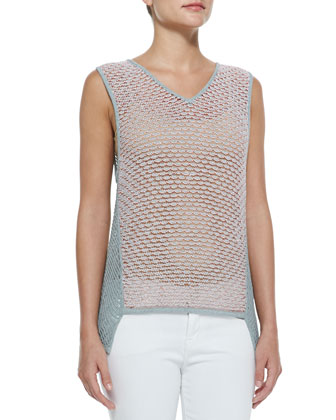 Loose Crepe-Gauze Tank, Light Gray/Fire