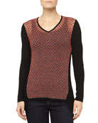 Crepe Gauze Mixed-Knit Sweater, Black/Torch