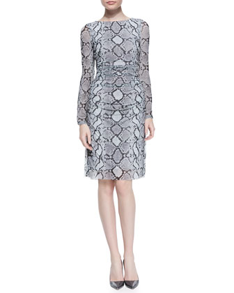 Long Sleeve Snake-Print Mesh Dress