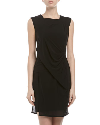 Square-Neck Dress with Seam Detail, Black