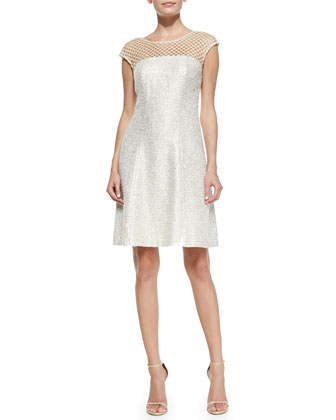 Tweed Mesh Neck Cocktail Dress