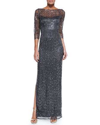 3/4-Sleeve Sequined Lace Overlay Gown