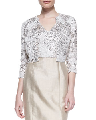 3/4-Sleeve Sequined Bolero Jacket & Cap-Sleeve Sequined Bodice Cocktail Dress