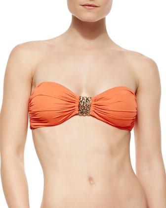 Metal-Detail Bandeau Bra-Style Bikini Top