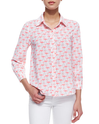 Willa Flamingo-Print Silk Blouse