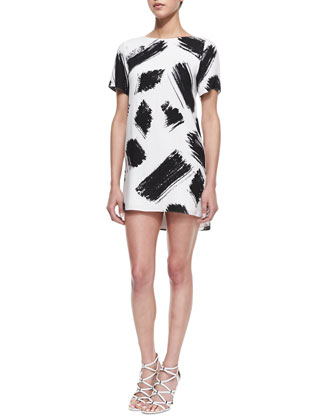 Phebe Paintbrush-Print Shift Dress