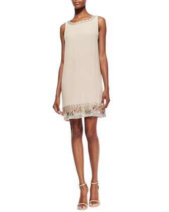 Emile Crepe Embroidered Sleeveless Dress