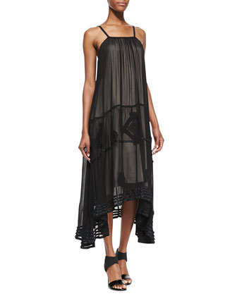 Dejas Silk Embroidered Trapeze Maxi Dress