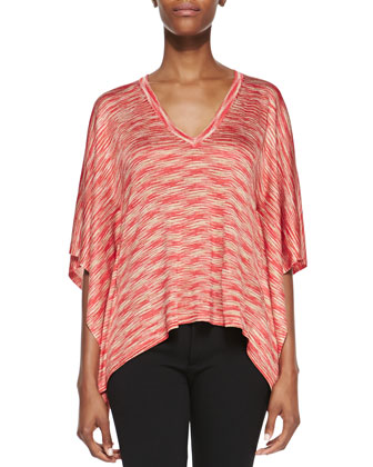 Space-Dye V-Neck Top, Coral