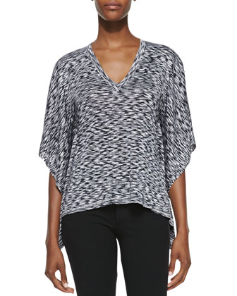 Space-dye V-Neck Top, Black/White