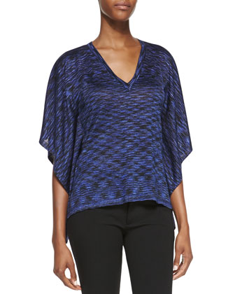 Space-dye V-Neck Top, Sapphire
